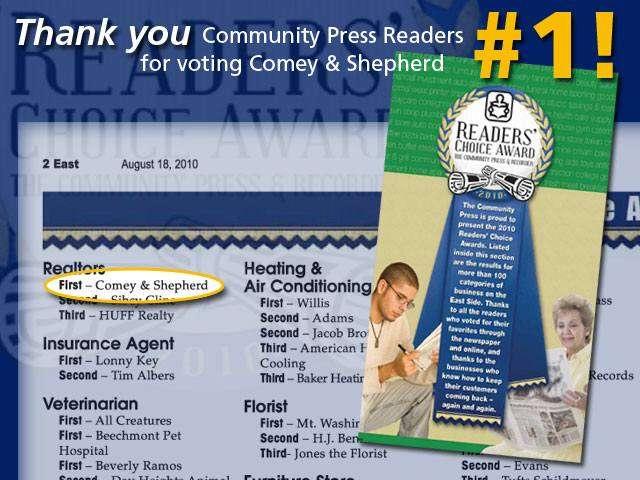 Cincinnati comey and shepherd realtors voted 1 in for Comey and shepherd