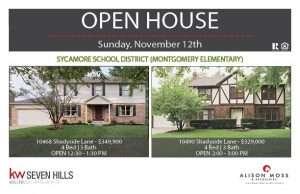 OPEN HOUSE – This Sunday 11/12 | 10468 & 10490 Shadyside Lane